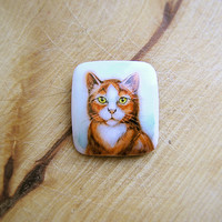 Animal Brooch Red Cat, cat jewelry, for cat lovers, watercolour hand painting, square pin, white and brown