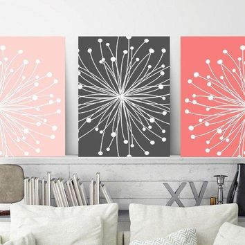 DANDELION Wall Art, Coral Gray Bedroom Decor, Coral Gray Nursery Wall Decor, CANVAS or Prints, Bathroom Decor, Dorm Room Decor, Set of 3