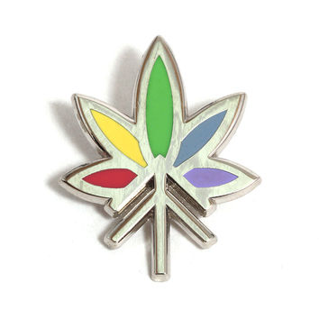 Rainbow Leaf Logo Pin Silver