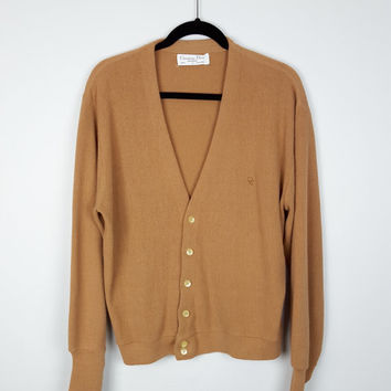L Vintage Christian Dior Designer Tan Cardigan Sweater / Vintage Designer Sweater / Christian Dior Boyfriend Cardigan / Button Down Sweater