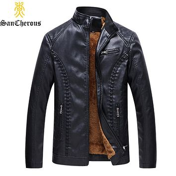 2019 New PU Leather Jacket Casual Warm Thick Outwear Fleece Autumn Winter Casual Men Coat Size L-6XL