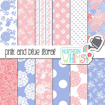 Floral Digital Paper – pastel pink and blue digital paper with flower pattterns - floral scrapbook paper - printable paper - commercial use