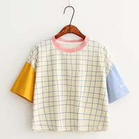 Tops and Tees T-Shirt 2017 New Summer  O Neck Harajuku Cute Casual Patchwork Women Letter Embroidery s Cotton Plaid Tee Short Sleeves AT_60_4 AT_60_4