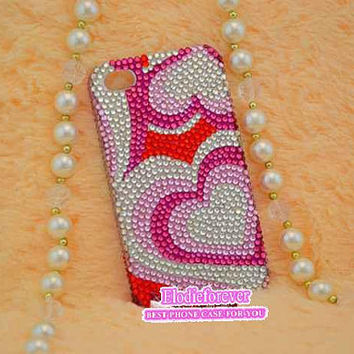 Heart iPhone 5 case, Love iPhone 4 case, Bling Rhinestone iPhone case, Bling Romantic iphone case, Swarovski crystals iPhone 5 Case, C15