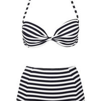 Navy Push Up Bikini Top and High Waisted Bikini Pants - Topshop