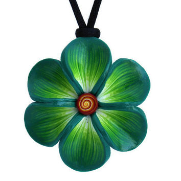 Mint green necklace, summer flower necklace, polymer clay necklace, Millefiori flower in a variety of green colors, gift for girls and women