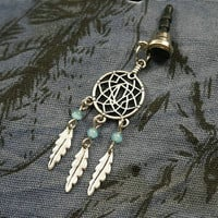 Handmade cell phone dust plug with a charm of Dreamcatcher