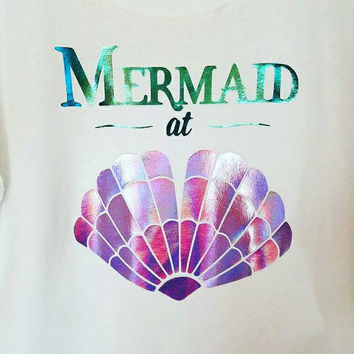 mermaid shirt, holographic, mermaid, holographic t shirt, mermaid gift, mermaid top, mermaid shell shirt, mermaid at heart, mermaid at heart