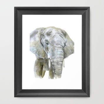 Elephant Watercolor Painting - African Animal Framed Art Print by Susan Windsor
