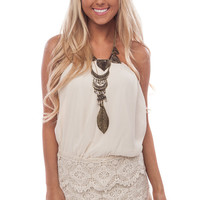 Cream Crochet Lace Bottom Romper