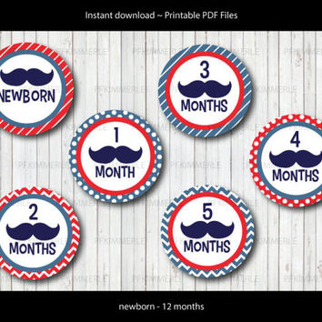 Monthly Milestone Stickers, Baby Sticker, Mustache Baby Boy Milestone Stickers and Iron On (newborn - 12 months) Printables
