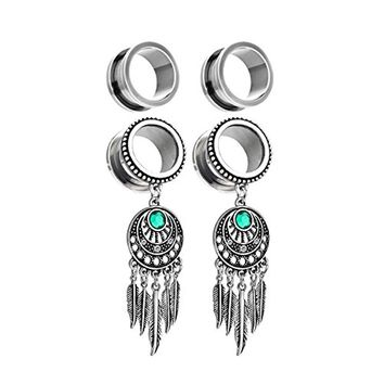 BodyJ4You 2 Pairs Surgical Steel Screw-Fit Tunnel Dreamcatcher Dangle Tribal and Plain Plugs 00G (10mm) Gauges