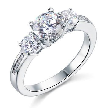 3 Stone Simulated Diamond Sterling Silver Ring