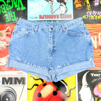 Vintage Denim Cut Offs - 90s High Waisted Acid Wash Jean Shorts - Cut Off, Frayed, Rolled Up - PLUS Size 14 OOAK - Plus Sized Summer