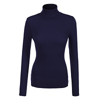 LE3NO Womens Basic Ribbed Long Sleeve Turtleneck Top