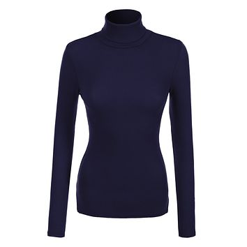 Basic Ribbed Long Sleeve Turtleneck Top