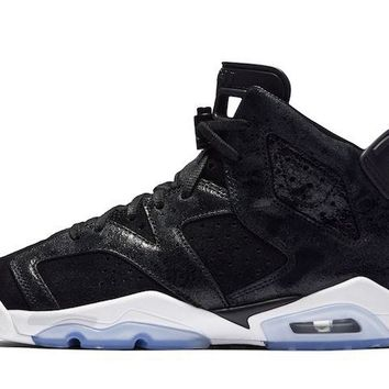 [Free Shipping ]Nike Air Jordan Retro VI 6 Heiress Premium Black Suede and White 881430 029 GS Basketball Sneaker