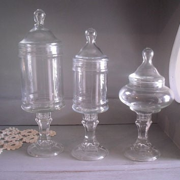3 Vintage Upcycled Apothecary Jars ~~ Pedestal Terrariums ~ Wedding Candy Buffet Jars ~~