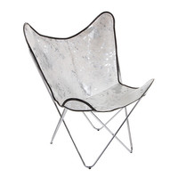 Acid Burnt Cow Skin Butterfly Chair - White/Silver from Amara