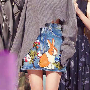 """Gucci"" Women Casual Fashion All-match Flowers Rabbit Embroidery High Waist Show Thin A Word Denim Short Skirt"