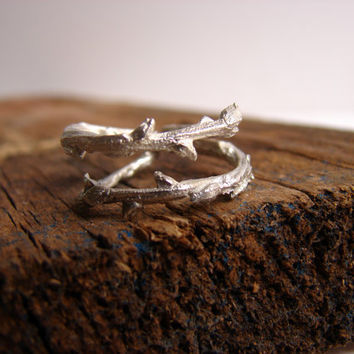 Twig Ring Branch Ring Double Adjustable Sterling Silver ring