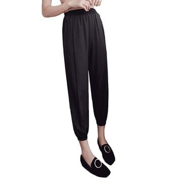 Fashion Summer Autumn Students Ladies Pencil Pants High Waist Pleated Thin Solid  Ankle-Length Trouser