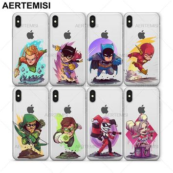 Aertemisi Aquaman Batgirl Batman Flash Green Arrow Lanterns Harley Quinn Clear TPU Case Cover for iPhone 5 5s SE 6 6s 7 8 Plus X
