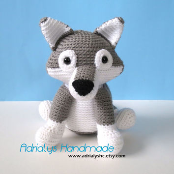 Crochet Grey Wolf- Stuffed Wolf- Wolf Plush- Woodland Animals- Forest Animals- Amigurumi Wolf- Handmade Wolf- Crochet Toy- Made to Order