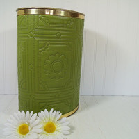 Vintage Groovy Avocado Green Textured Vinyl Upholstery Oval Metal Waste Bin - Mid Century Retro Olive Color Daisy Design Trash Can Decor