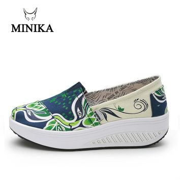 Minika Summer shoes for Women Toning sneaker Slip On Canvas Fitness Walking slimming Shoes Wedge sneakers scarpe sportive donna