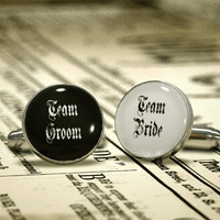 Wedding Cufflinks - Team BRIDE or Team GROOM ,a perfect matching for both teams