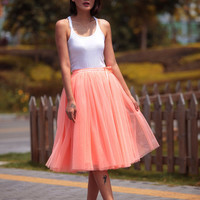 Tulle Skirt Tea length Tutu Skirt Knee length tulle tutu Princess Skirt Wedding Skirt in Pink orange - NC455