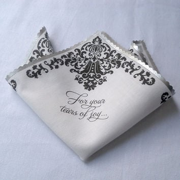 Wedding handkerchief for your tears of joy, mother of the bride or groom wedding favor, black and white damask, silver wedding hankerchief