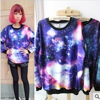 Galaxy Space Starry Print Long Sleeve Sweatshirt [51]