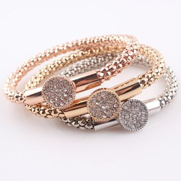 Crystal Bracelet With Pendant Fashion Gold Filled Bracelets Bangles Silver Jewellery Elastic Charm Chain JJAL B474