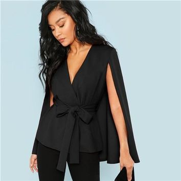 Black Deep V Neck Surplice Neck Tie Waist Cloak Sleeve Cape Coat 2018 Streetwear Modern Lady Outerwear Coat New