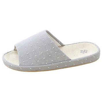 bestfur Arch Design Breathable Comfortable Casual Linen House Slippers for Women
