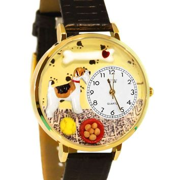Fox Terrier Black Skin Leather And Goldtone Watch