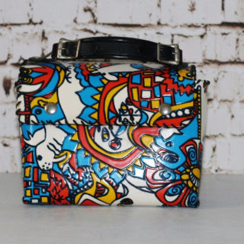 60s Lunch Box Leather Handel Abstract Animals Psychedelic Colorful Floral Flowers Handbag Purse Bag Black White Hippie Boho Goovy 70s vinyl