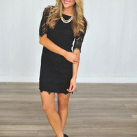 Lace Fitted Dress- Black