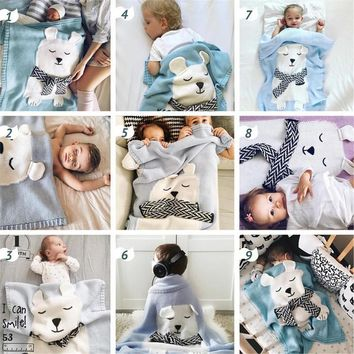 Ins Cute Bear Pillow Children Stereo ear Soft knitting Pillow Knit Cushion Woven Pillow Room Decoration Photo Props