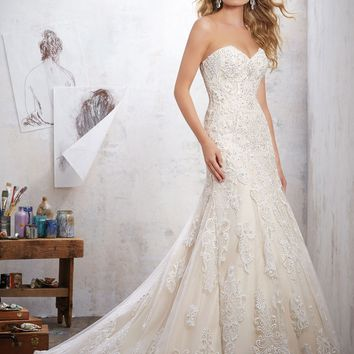 Morilee Mackinley 8102 Strapless Lace Wedding Dress