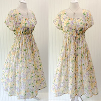 Kristy dress // 1990s sheer paperthin cotton gauze floral babydoll maxi // empire waist full sweep // size M