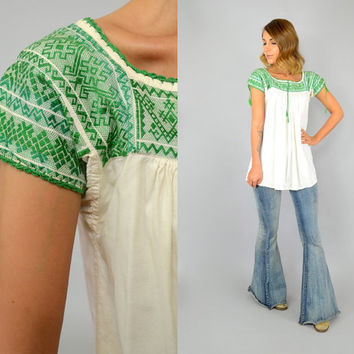 70's EMBROIDERED Mexican geometric hippie BOHEMIAN gypsy ethnic BLOUSE, extra small-small