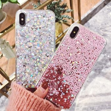 Luxury 3D Shine Bling Goldleaf Sequins Soft TPU Silicone Case For iPhone 5 5S 6 6s 7 8 Plus Back Phone X Cover Capa Fundas