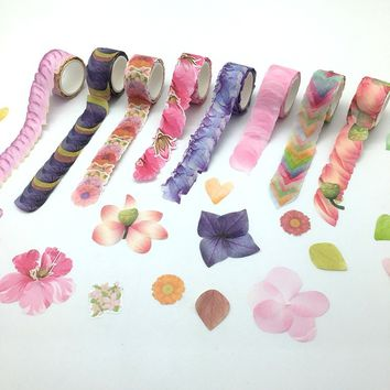 9 Styles 20mm width *200pcs Petal Washi Tape Stickers DIY Scrapbook Decorative Tape Kids Hobbies Art & Craft Supplies Stationery