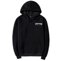 """Thrasher""Quality hooded sweater flame slide hip sweater Letters on the side Black"