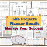 Project life planner kit organizer and cards project plan template management agile goal planning setting planner goal digger journal GTD