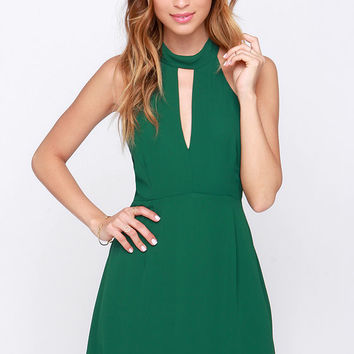 Halter At Ya Forest Green Dress