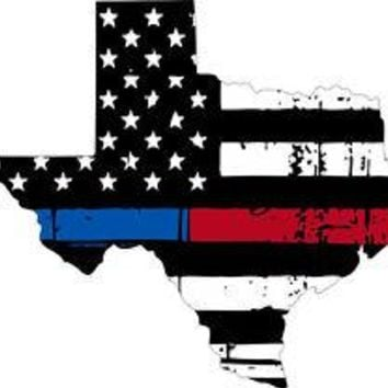 Thin Blue Red line decal - State of Texas tattered Flag Decal - Various Sizes
